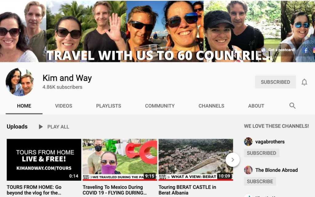 Kim and Way Youtube Homepage