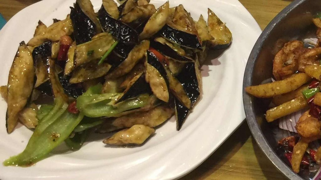 Grilled eggplant in Shandong, China