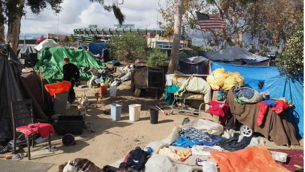 Democracy and poverty. Homeless camp in America