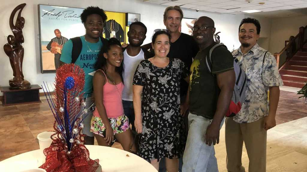 The play house in Belize City, with the cast members