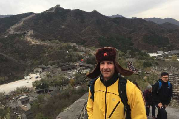 Way at the Great Wall China in a fur hat