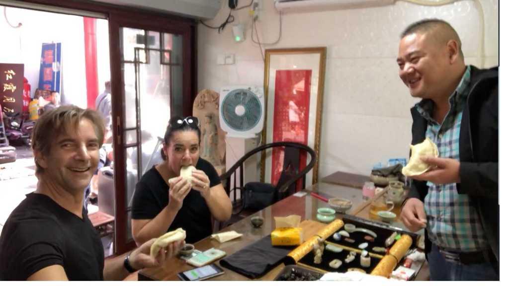 Eating dumpling in Jinan, China