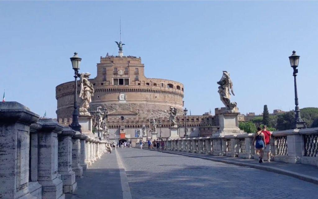 Hadrian's castle and St. Angelo Bridge in Rome, Italy