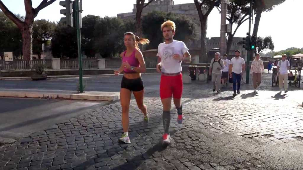 Couple running in Rome