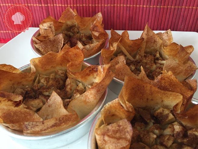 tartelettes aux pommes sur feuilles de brick