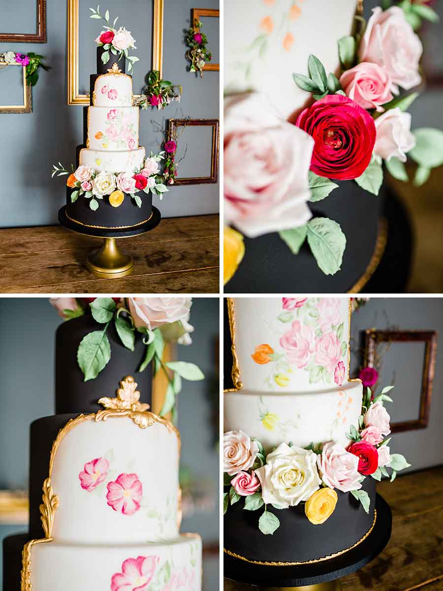 Black wedding cake with hand painted flowers