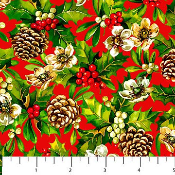 Christmas Fabric Home For The Holiday Holly Quilting Quilt Pine