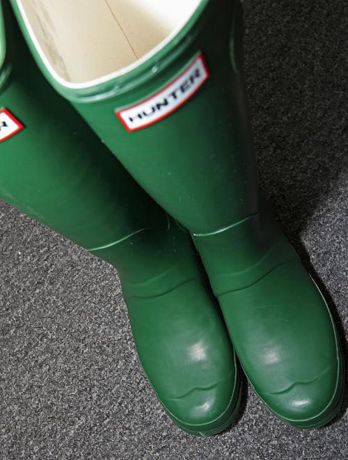 green hunter wellington boots