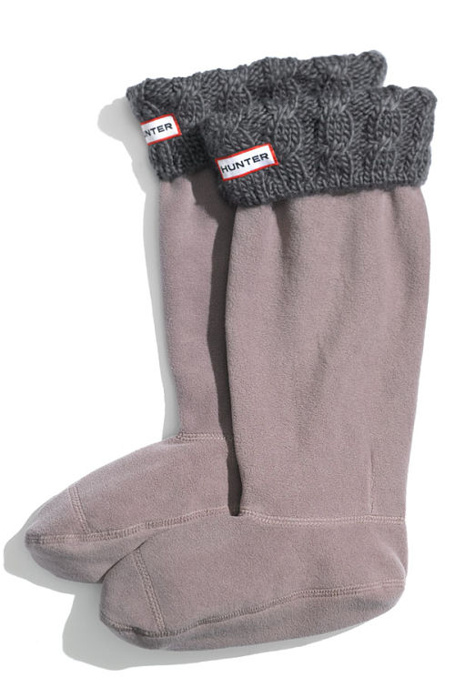 hunter welly cabled cuff socks