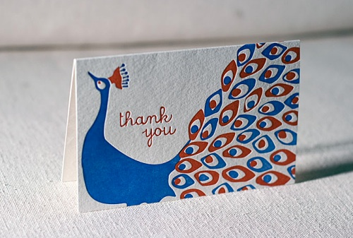 smock letterpress peacock thank you card