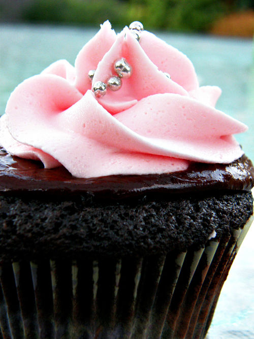 dark chocolate cupcake with strawberry frosting