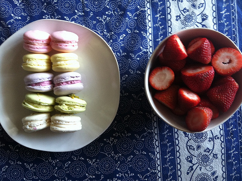 macarons and strawberries