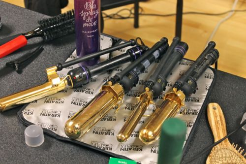 curling irons backstage at fashion for a cause kansas city