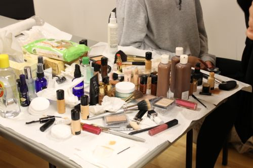 makeup backstage at fashion for a cause kansas city