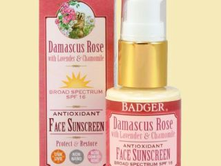badger damascus rose spf 16 face sunscreen lotion