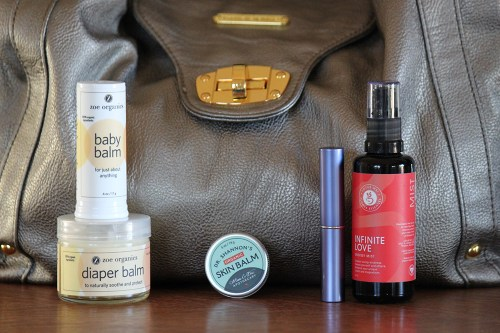 inside heather hamilton of zoe organics' diaper bag