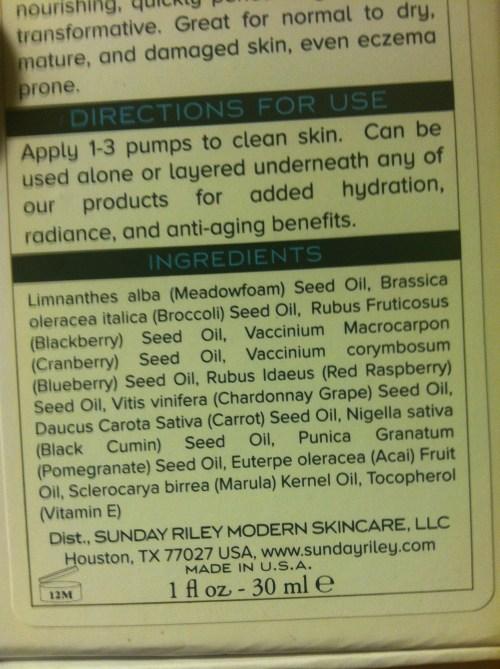 sunday riley ingredients list