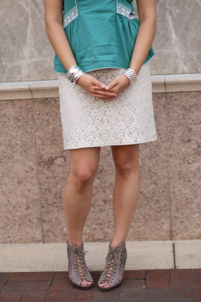 lace skirt and lace-up booties @kimberlyloc