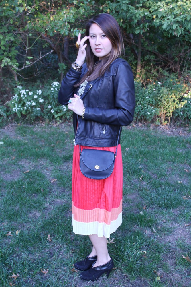 kimberlyloc color block skirt and vintage coach watson bag