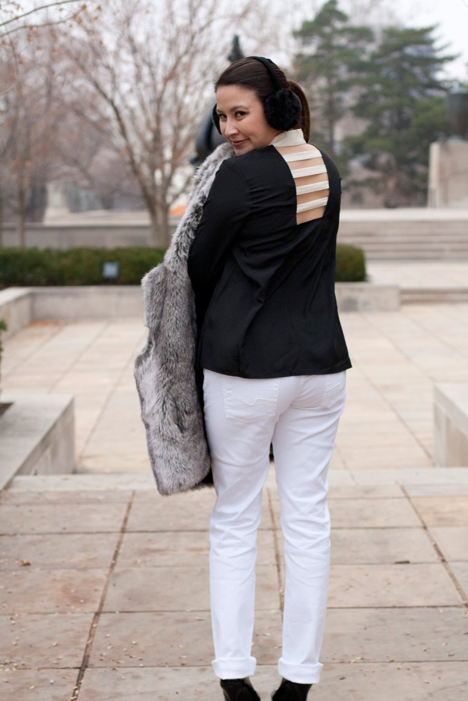 kimberlyloc in open-back blouse and winter white denim