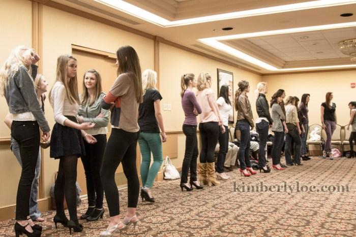 kansas city fashion week models waiting to practice their walk