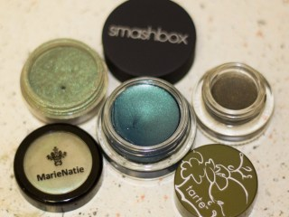 emerald eye makeup from marie natie, smashbox and tarte