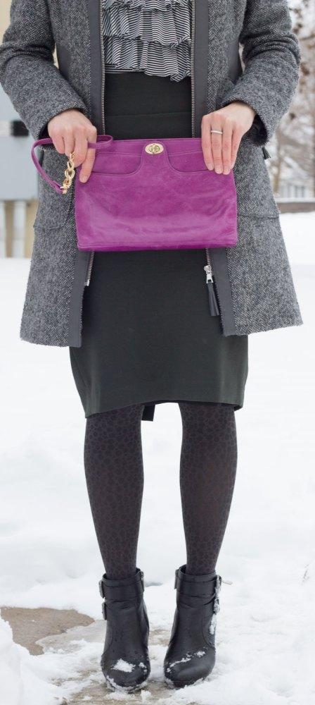 kimberlyloc wears a dark olive green na martin pencil skirt, gray via spiga coat and violet hobo bag