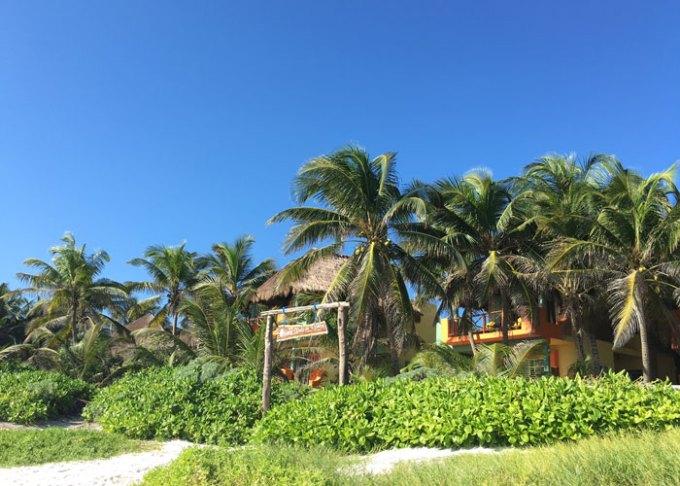 view of hotel nueva vida de ramiro from tulum beach