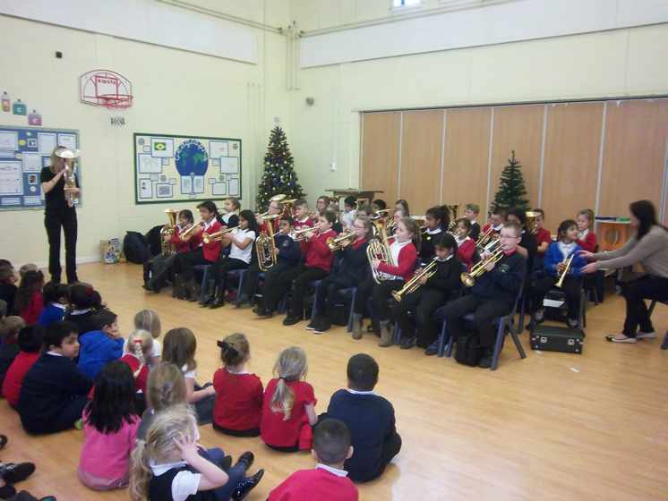 This year, class 5 are learning to play brass instruments.
