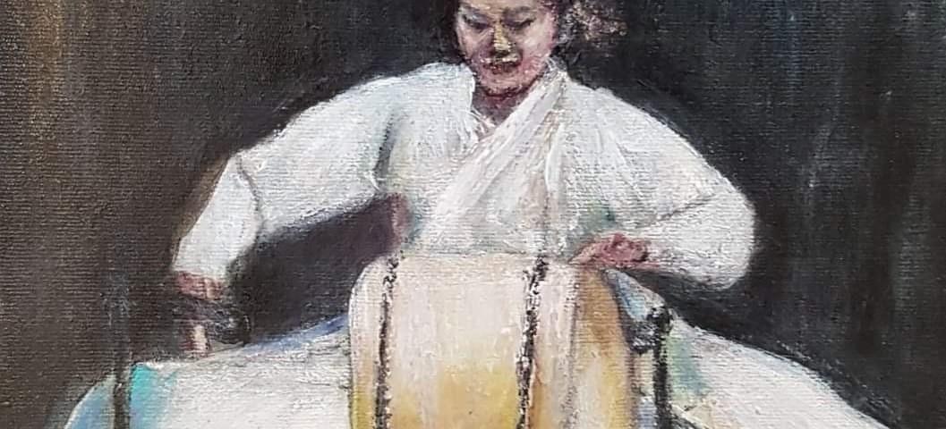 La musicienne jouant du tambour coréen - acrylique, 25x25 cm (2020)