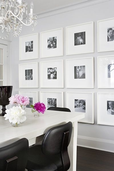 If you want photos, a grid of white or silver frames with black and white photos adds elegance. For art, grab a canvas and create an abstract with your accent colour.