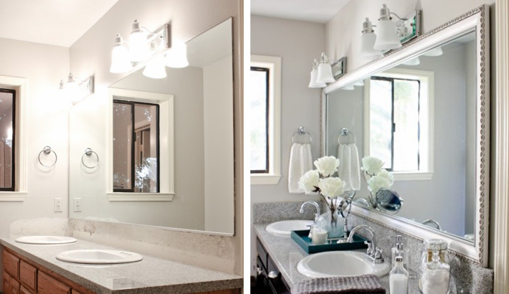 Fresh new white towels, a white cloth shower curtain and mat do wonders to a bathroom. If your mirror does not have a frame, adding one can make a huge difference