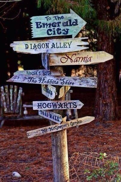 """A sign post for a play area in the backyard. """"A children's story that can only be enjoyed by children is not a good children's story in the slightest."""" -C.S. Lewis"""