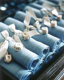 Love these napkins with dreidel keepsakes! MarthaStewart.com