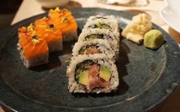 Salmon + fatty tuna and avocado sushi from Sake no Hana in Mayair, London   eating gluten free in London