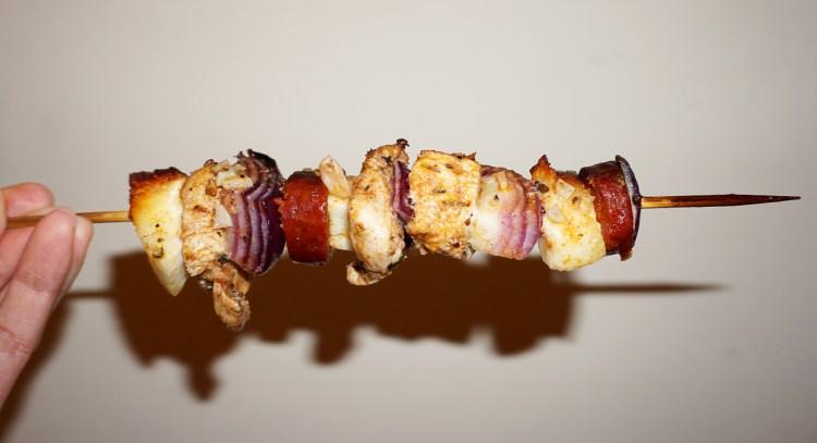Chicken chorizo halloumi kebabs