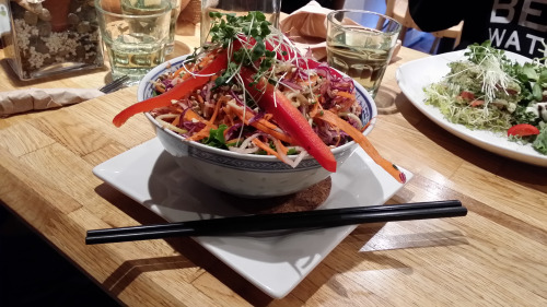 Gluten free raw vegan pad Thai salad from Crudessence in Montreal