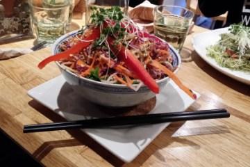 Gluten free raw vegan pad Thai salad from Crudessence in Montreal