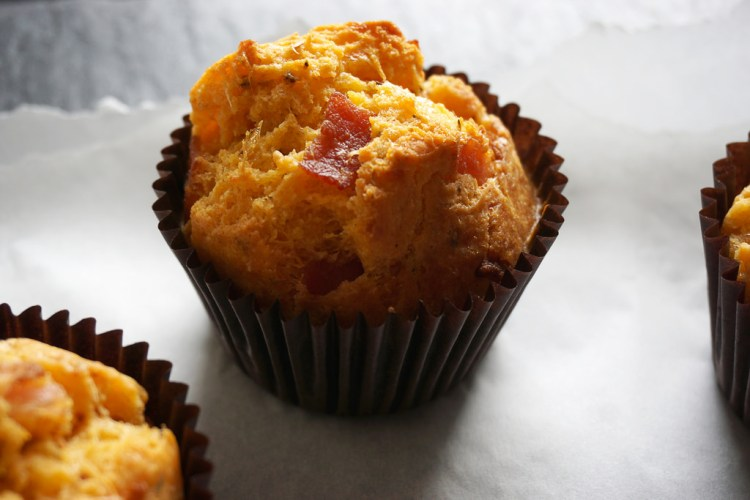 Breakfast gluten free bacon cheese muffins made with Doves Farm self raising flour