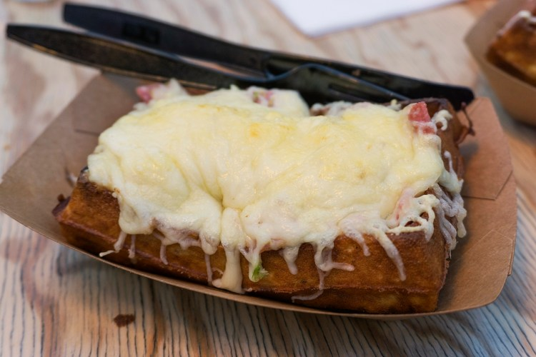 Gluten free waffles with ham and emmental cheese from Yummy and Guilt Free in Paris- gluten free waffles paris