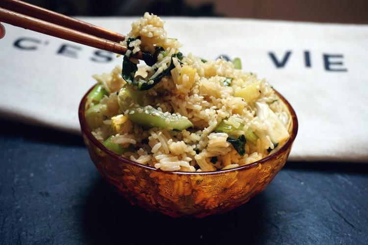 Gluten free honey and ginger pak choi rice