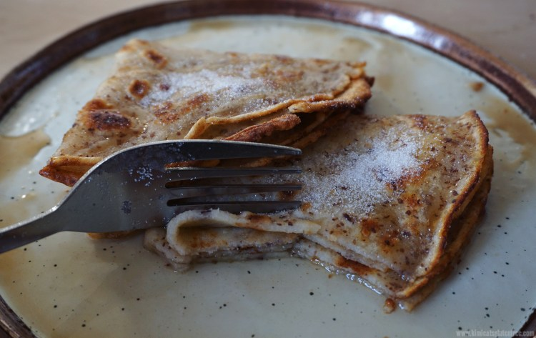 Basic thin gluten free crepes with lemon juice and sugar