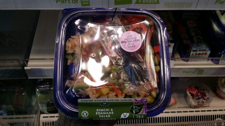 Boots gluten free sushi - kimchi and edamame salad - upgraded gluten free soy sauce