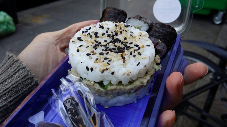Boots gluten free sushi - pulled pork sushi - upgraded gluten free soy sauce