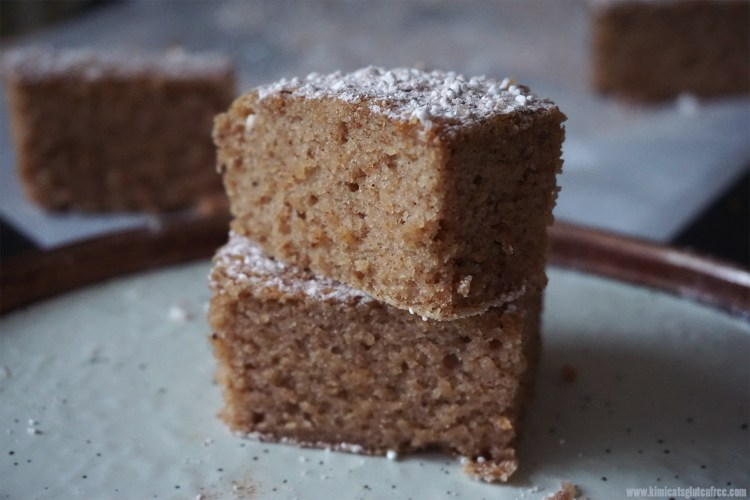 Healthy gluten free cake slices with cinnamon sugar on top