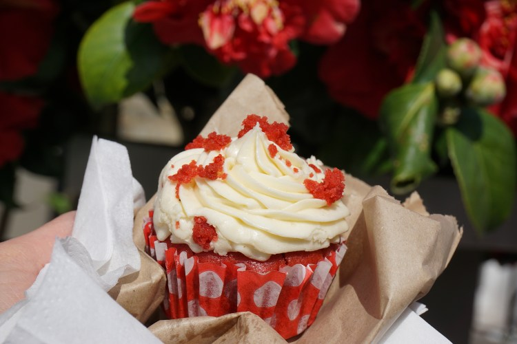 Gluten free red velvet cupcake from Brother Wolf in Nag's Head Market in Holloway - Holloway gluten free cafe