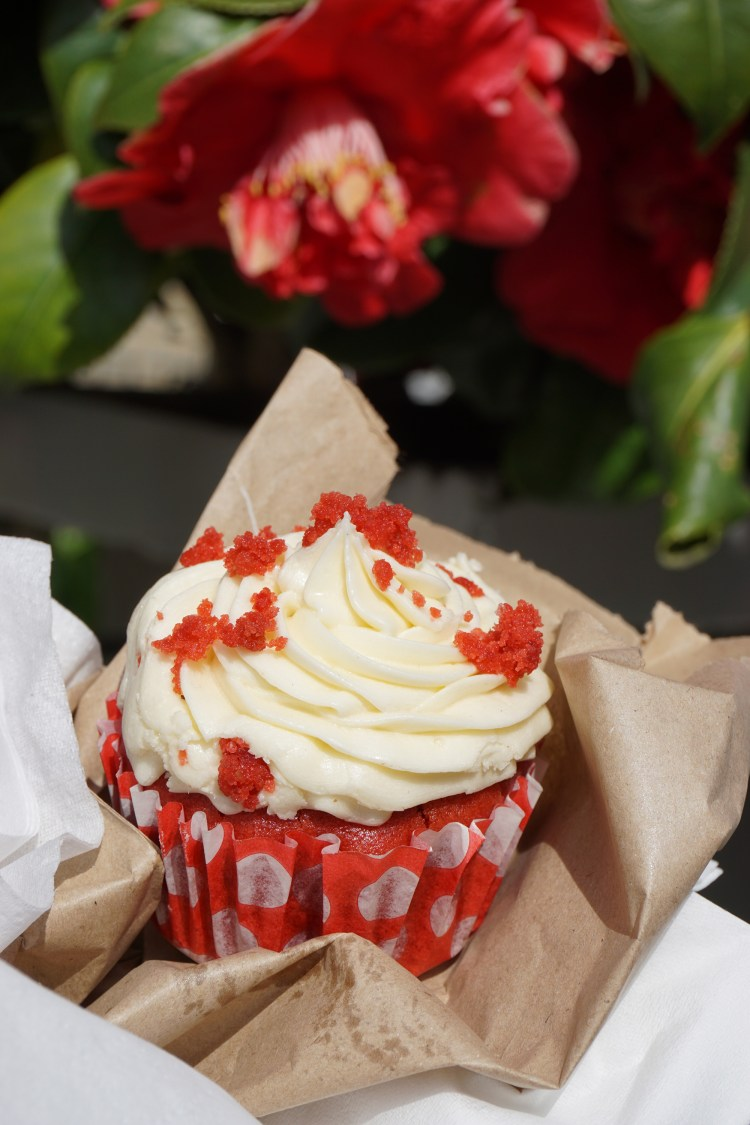 Gluten free vegan red velvet cupcake from Brother Wolf in Nag's head market in Holloway - Holloway gluten free cafe