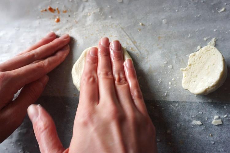 Gluten free hot pockets making process - flatting the dough