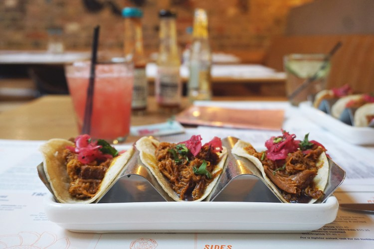 Gluten free pork tacos and a watermelon margarita from Wahaca | Gluten Free Mexican Food | London + UK