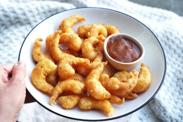 Homemade gluten free prawn tempura with Chinese sweet and sour dipping sauce
